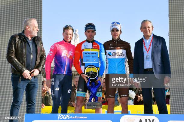 Podium / Simon Clarke of Australia and Team EF Education First / Gorka Izaguirre of Spain and Astana Pro Team Leader Jersey / Tony Gallopin of France...