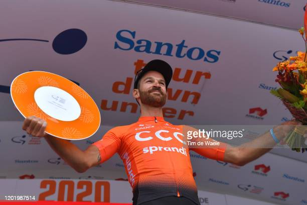 Podium / Simon Geschke of Germany and CCC Team 3rd GC place / Celebration / Trophy / during the 22nd Santos Tour Down Under 2020, Stage 6 a 151,5km...