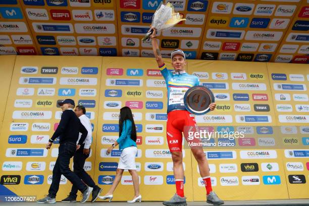 Podium / Simon Pellaud of Switzerland and Team Androni Giocattoli - Sidermec Blue Most Combative Rider Jersey / Celebration / Trophy / during the 3rd...