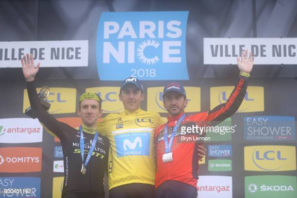 Podium / Simon Yates of Great Britain and MitcheltonScott Marc Soler of Spain and Movistar Team Yellow Leader Jersey Gorka Izagirre of Spain and...