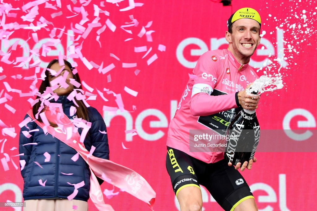 Podium / Simon Yates of Great Britain and Team Mitchelton-Scott Pink Leader Jersey / Celebration / Champagne / during the 101th Tour of Italy 2018, Stage 6 a 164km stage from Caltanissetta to Etna-Oss.Astrofisico 1736m / Giro d'Italia / on May 10, 2018 in Etna, Italy.