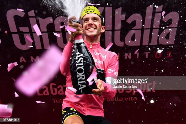Podium / Simon Yates of Great Britain and Team MitcheltonScott Pink Leader Jersey / Celebration / Champagne / during the 101th Tour of Italy 2018...
