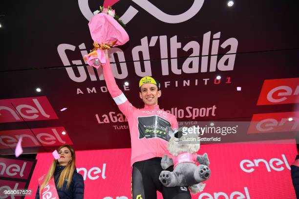 Podium / Simon Yates of Great Britain and Team Mitchelton-Scott Pink Leader Jersey / Celebration / during the 101th Tour of Italy 2018, Stage 9 a...