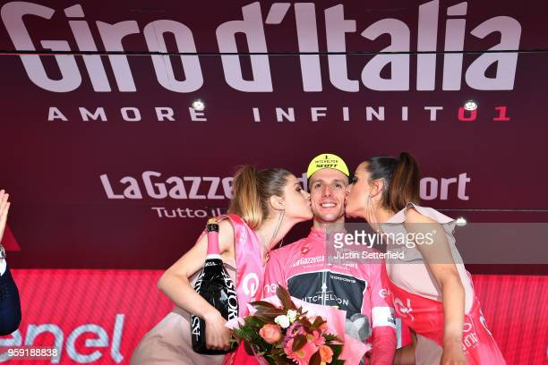Podium / Simon Yates of Great Britain and Team MitcheltonScott Pink Leader Jersey / Celebration / Champagne / during the 101st Tour of Italy 2018...