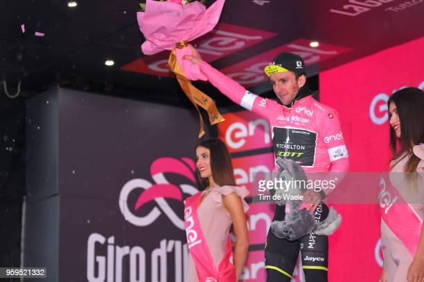 Podium / Simon Yates of Great Britain and Team Mitchelton-Scott Pink Leader Jersey /during the 101st Tour of Italy 2018, Stage 12 a 214km stage from...