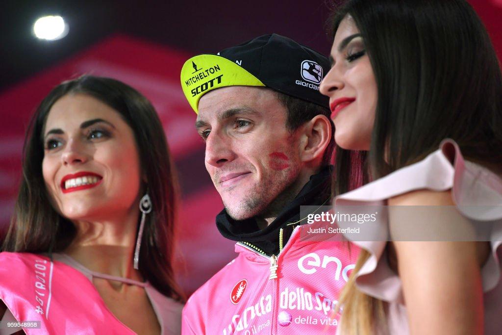 Podium / Simon Yates of Great Britain and Team Mitchelton-Scott Pink Leader Jersey / Celebration / during the 101st Tour of Italy 2018, Stage 12 a 214km stage from Osimo to Imola-Autodromo Enzo e Dino Ferrari / Imola F1 Circuit / Giro d'Italia / on May 17, 2018 in Imola, Italy.