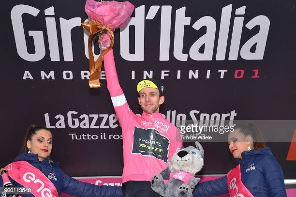 Podium / Simon Yates of Great Britain and Team Mitchelton-Scott Pink Leader Jersey / Celebration / during the 101st Tour of Italy 2018, Stage 14 a...