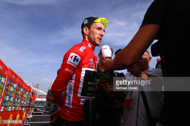 Podium / Simon Yates of Great Britain and Team MitcheltonScott Red Leader Jersey / Celebration / Interview / during the 73rd Tour of Spain 2018 Stage...