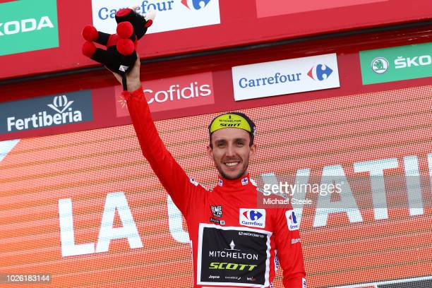 Podium / Simon Yates of Great Britain and Team MitcheltonScott Red Leader Jersey / Celebration / Bull Mascot / during the 73rd Tour of Spain 2018...
