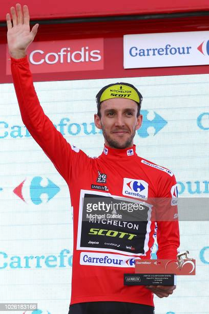 Podium / Simon Yates of Great Britain and Team Mitchelton-Scott Red Leader Jersey / Celebration / during the 73rd Tour of Spain 2018, Stage 9 a...