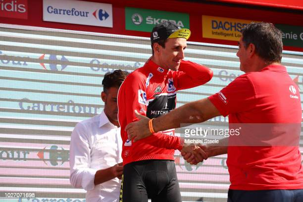 Podium / Simon Yates of Great Britain and Team Mitchelton-Scott Red Leader Jersey / Celebration / during the 73rd Tour of Spain 2018, Stage 11 a...