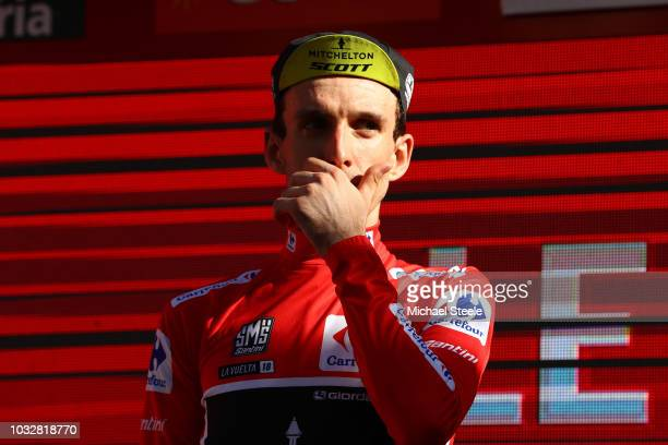 Podium / Simon Yates of Great Britain and Team Mitchelton-Scott Red Leader Jersey / Celebration / during the 73rd Tour of Spain 2018, Stage18 a...