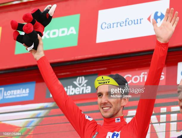 Podium / Simon Yates of Great Britain and Team Mitchelton-Scott Red Leader Jersey / Celebration / during the 73rd Tour of Spain 2018, Stage 19 a...