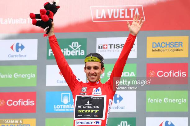 Podium / Simon Yates of Great Britain and Team Mitchelton-Scott Red Leader Jersey / Celebration / during the 73rd Tour of Spain 2018, Stage 20 a...