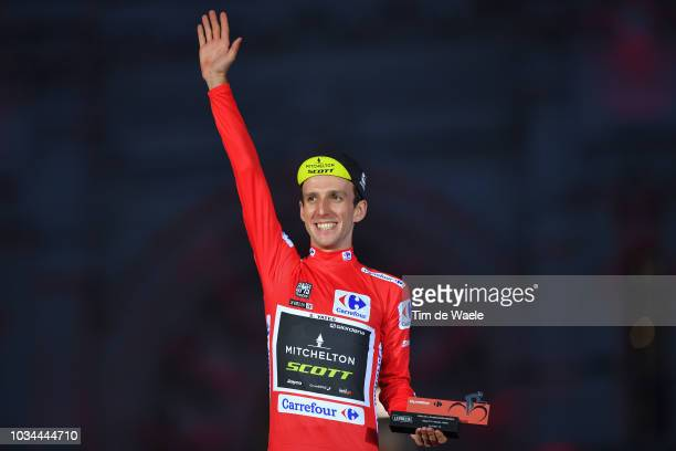 Podium / Simon Yates of Great Britain and Team Mitchelton-Scott Red Leader Jersey / Celebration / Trophy / Madrid Town Hall / Plaza Cibeles / during...