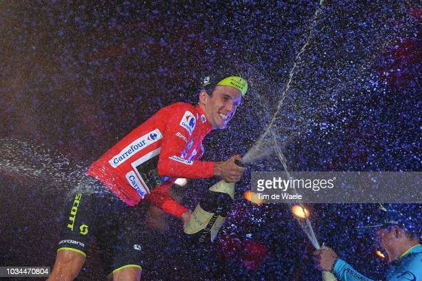 Podium / Simon Yates of Great Britain and Team Mitchelton-Scott Red Leader Jersey / Miguel Angel Lopez of Colombia and Astana Pro Team / Celebration...