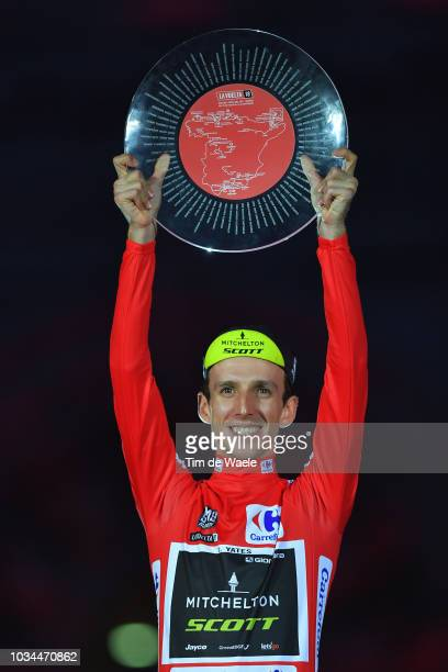 Podium / Simon Yates of Great Britain and Team MitcheltonScott Red Leader Jersey / Celebration / Trophy / Madrid Town Hall / Plaza Cibeles / during...