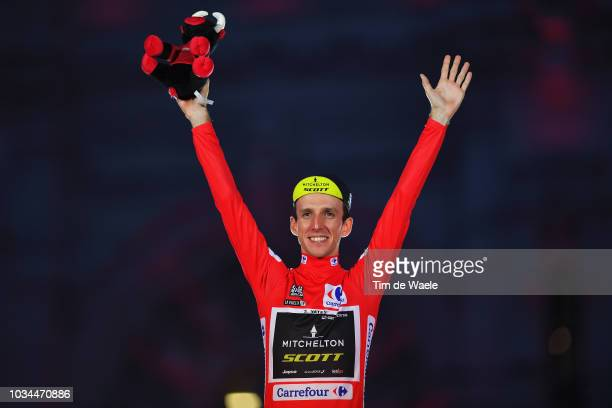 Podium / Simon Yates of Great Britain and Team Mitchelton-Scott Red Leader Jersey / Celebration / Bull mascot / Madrid Town Hall / Plaza Cibeles /...