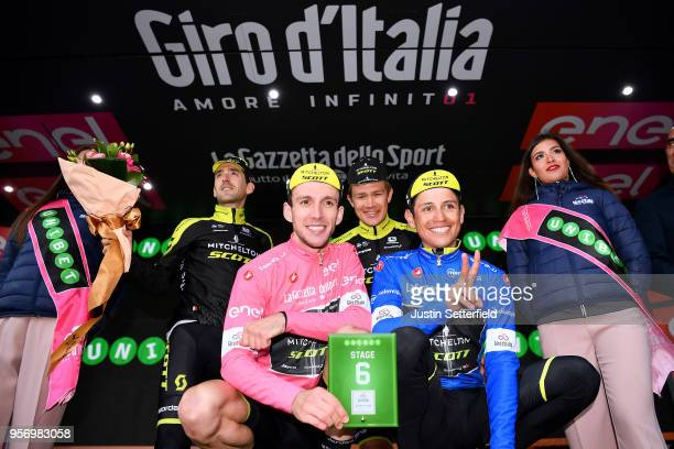 Podium / Simon Yates of Great Britain Pink Leader Jersey / Johan Esteban Chaves Rubio of Colombia Blue Mountain Jersey / Mikel Nieve Ituralde of...