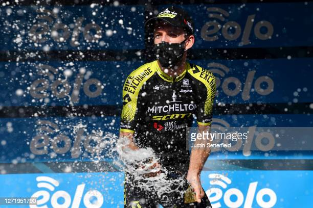 Podium / Simon Yates of The United Kingdom and Team Mitchelton-Scott Celebration / Champagne / during the 55th Tirreno-Adriatico 2020, Stage 5 a...