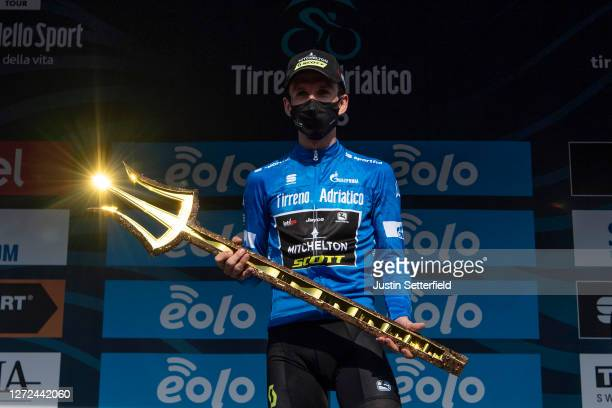 Podium / Simon Yates of The United Kingdom and Team Mitchelton-Scott Blue Leader Jersey / Celebration / Mask / Covid safety measures / Trident /...