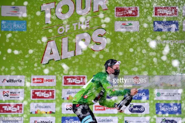 Podium / Simon Yates of United Kingdom and Team BikeExchange green leader jersey celebrates during the 44th Tour of the Alps 2021, Stage 4 a 168,6 to...
