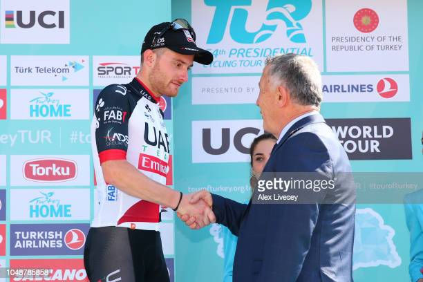 Podium / Simone Consonni of Italy and UAE Team Emirates / Celebration / during the 54th Presidential Cycling Tour Of Turkey, Stage 2 a 149,6km stage...