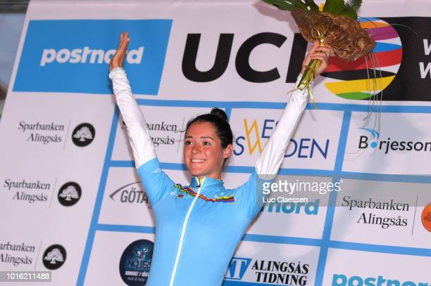 Podium / Sofia Bertizzolo of Italy and Astana Women Team / UCI world cup young riders jersey / Celebration / during the 13rd Open de Suede Vargarda...