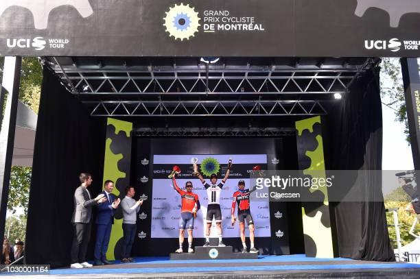 Podium / Sonny Colbrelli of Italy and Bahrain Merida Pro Cycling Team / Michael Matthews of Australia and Team Sunweb / Greg Van Avermaet of Belgium...