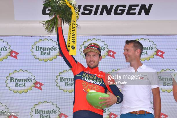 Podium / Sonny Colbrelli of Italy and Bahrain Merida Pro Team / Celebration / during the 82nd Tour of Switzerland 2018, Stage 3 a 182,8km stage from...