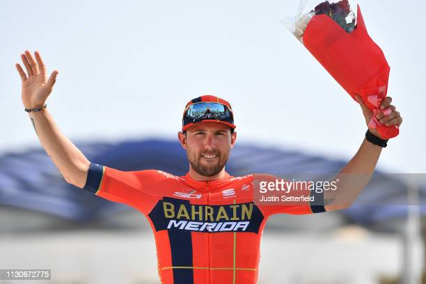 Podium / Sonny Colbrelli of Italy and Team Bahrain Merida / Celebration / during the 10th Tour of Oman 2019 Stage 4 a 131km stage from Yiti al Sifah...