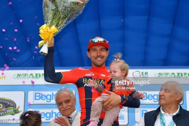 Podium / Sonny Colbrelli of Italy and Team Bahrain - Merida White Leader Jersey / Vittoria Colbrelli of Italy daughter / Celebration / Gian Pietro...