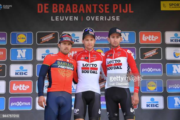 Podium / Sonny Colbrelli of Italy and Team Bahrain-Merida / Tim Wellens of Belgium and Team Lotto Soudal / Tiesj Benoot of Belgium and Team Lotto...