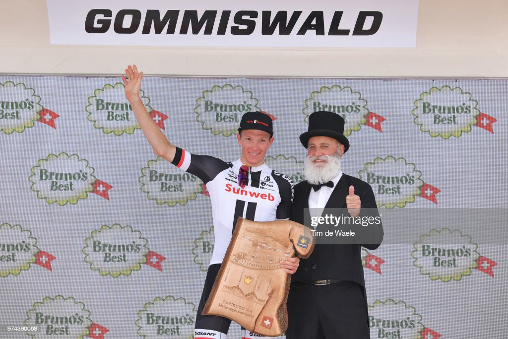 Podium / Soren Kragh Andersen of Denmark and Team Sunweb / Celebration / during the 82nd Tour of Switzerland 2018 / Stage 6 a 186km from Fiesch to Gommiswald 598m on June 14, 2018 in Gommiswald, Switzerland.