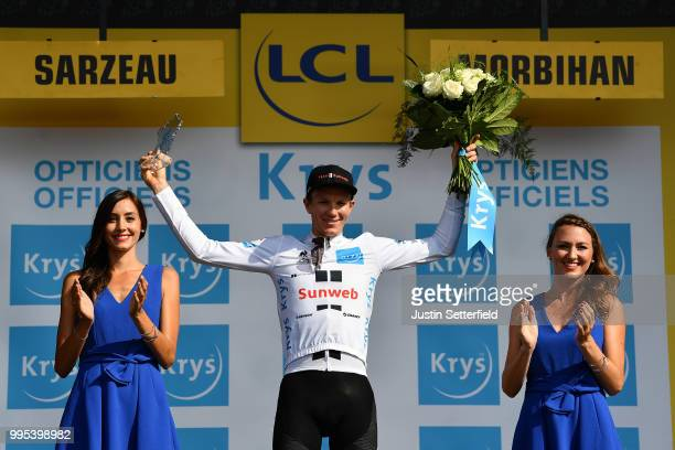 Podium / Soren Kragh Andersen of Denmark and Team Sunweb White Best Young Jersey / Celebration / during the 105th Tour de France 2018, Stage 4 a...