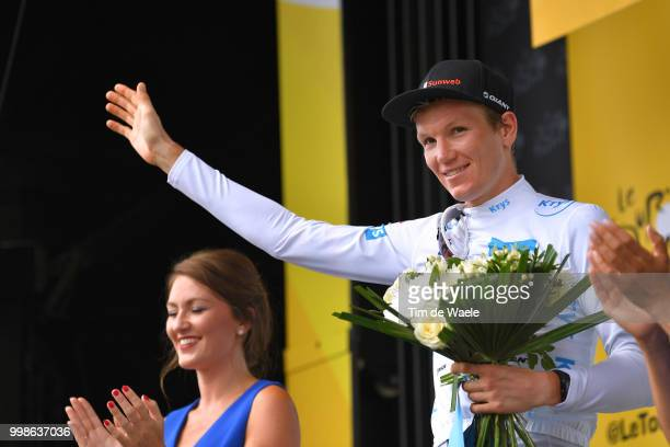 Podium / Soren Kragh Andersen of Denmark and Team Sunweb White Best Young Rider Jersey / Celebration / during the 105th Tour de France 2018, Stage 8...