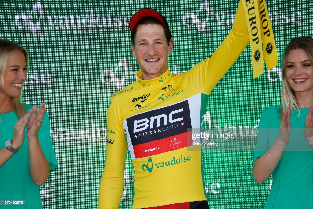 Podium / Stefan Kung of Switzerlan and BMC Racing Team Yellow Leader Jersey / Celebration / during the 82nd Tour of Switzerland 2018, Stage 1 a 18,3km Team time trial stage from Frauenfeld to Frauenfeld on June 9, 2018 in Frauenfeld, Switzerland.