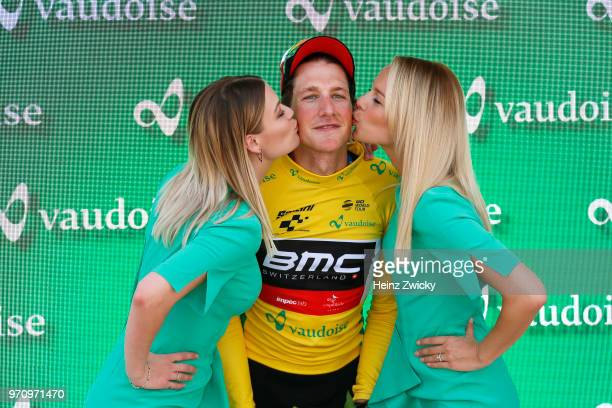 Podium / Stefan Kung of Switzerlan and BMC Racing Team Yellow Leader Jersey / Celebration / during the 82nd Tour of Switzerland 2018, Stage 2 a 155km...