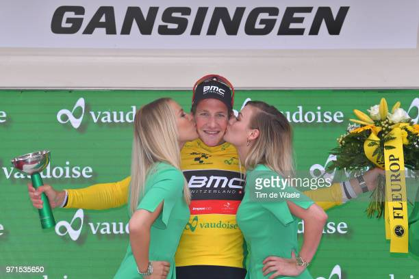 Podium / Stefan Kung of Switzerlan Yellow Leader Jersey / Celebration / Trophy / during the 82nd Tour of Switzerland 2018, Stage 3 a 182,8km stage...