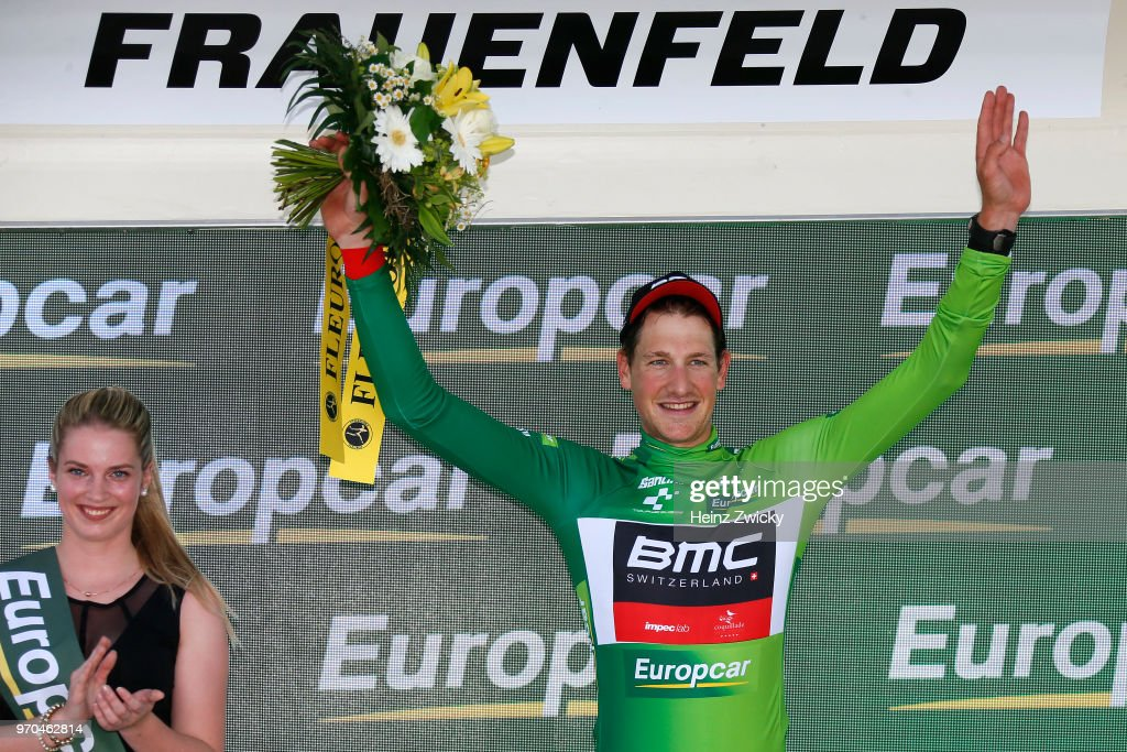 Podium / Stefan Kung of Switzerlan Yellow Leader Jersey Green Best Young Jersey / Celebration / during the 82nd Tour of Switzerland 2018, Stage 1 a 18,3km Team time trial stage from Frauenfeld to Frauenfeld on June 9, 2018 in Frauenfeld, Switzerland.