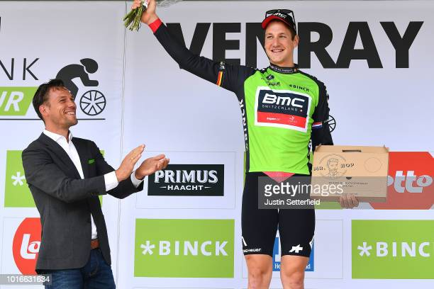 Podium / Stefan Kung of Switzerland and BMC Racing Team Green Leader Jersey / Celebration / during the 14th BinckBank Tour 2018, Stage 2 a 12,7km...