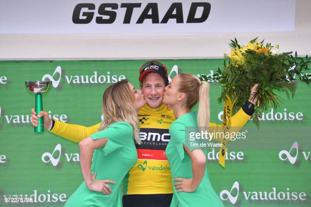 Podium / Stefan Kung of Switzerland Yellow Leader Jersey / Celebration / Trophy / during the 82nd Tour of Switzerland 2018, Stage 4 a 189,2km stage...