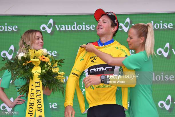 Podium / Stefan Kung of Switzerland Yellow Leader Jersey / Celebration / during the 82nd Tour of Switzerland 2018, Stage 4 a 189,2km stage from...