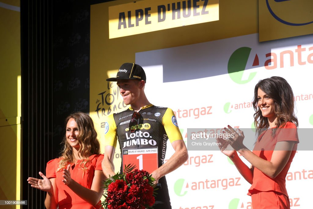 Podium / Steven Kruijswijk of The Netherlands and Team LottoNL - Jumbo /Most combative rider Celebration / during the 105th Tour de France 2018, Stage 12 a 175,5km stage from Bourg-Saint-Maurice Les Arcs to Alpe d'Huez 1850m / TDF / on July 19, 2018 in Alpe d'Huez, France.