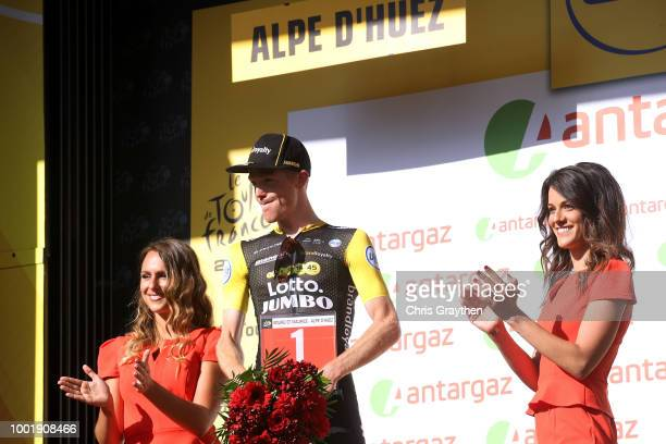 Podium / Steven Kruijswijk of The Netherlands and Team LottoNL - Jumbo /Most combative rider Celebration / during the 105th Tour de France 2018,...