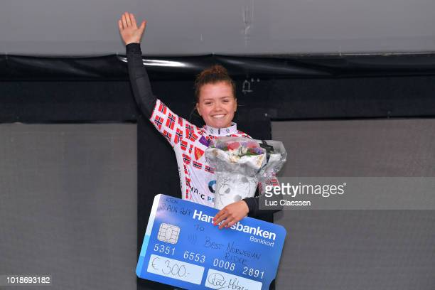 Podium / Susanne Andersen of Norway and Team Hitec Products / Best Norwegian rider jersey / Celebration / during the 4th Ladies Tour of Norway 2018...