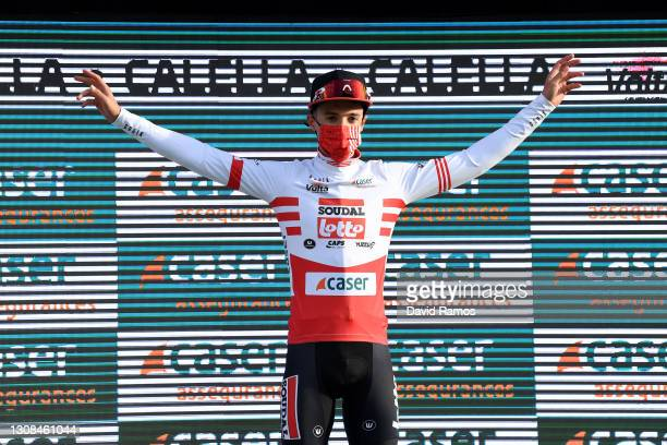 Podium / Sylvain Moniquet of Belgium and Team Lotto Soudal Red Mountain Jersey Celebration, during the 100th Volta Ciclista a Catalunya 2021, Stage 1...