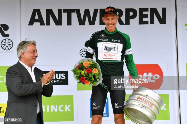 Podium / Taco Van Der Hoorn of Netherlands and Team Roompot-Nederlandse Loterij Green-Black Combativity Jersey / Celebration / Beer / during the 14th...