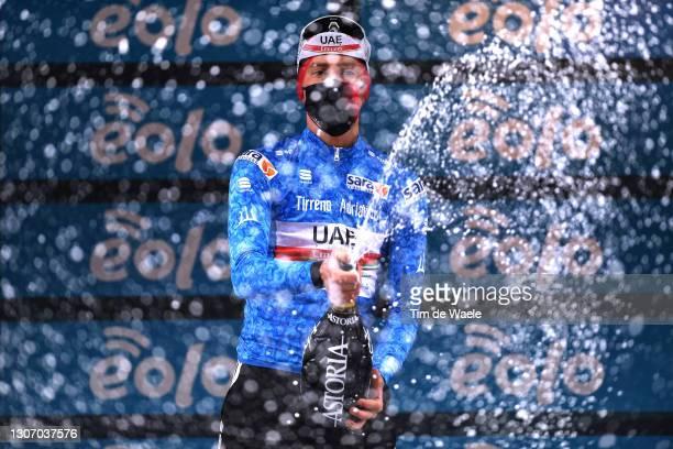 Podium / Tadej Pogacar of Slovenia and UAE Team Emirates Blue Leader Jersey Celebration, during the 56th Tirreno-Adriatico 2021, Stage 5 a 205km...