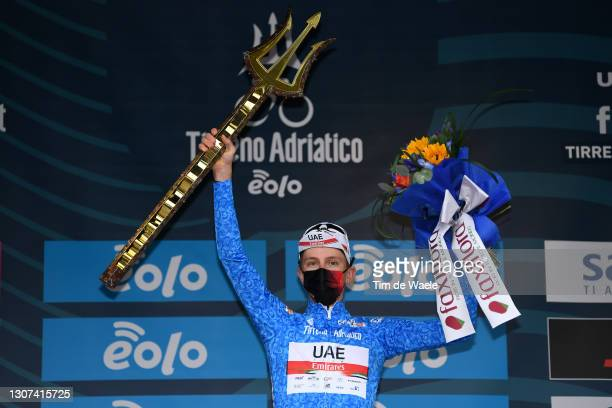 Podium / Tadej Pogacar of Slovenia and UAE Team Emirates Blue Leader Jersey Celebration, during the 56th Tirreno-Adriatico 2021, Stage 7 a 10,1km...
